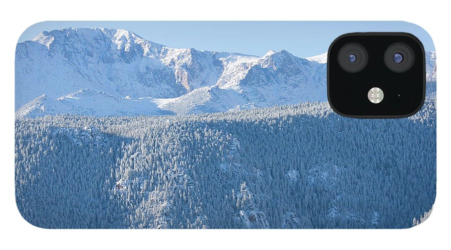 Extreme Terrain IPhone 12 Case featuring the photograph Pikes Peak In Fresh Snow by Swkrullimaging