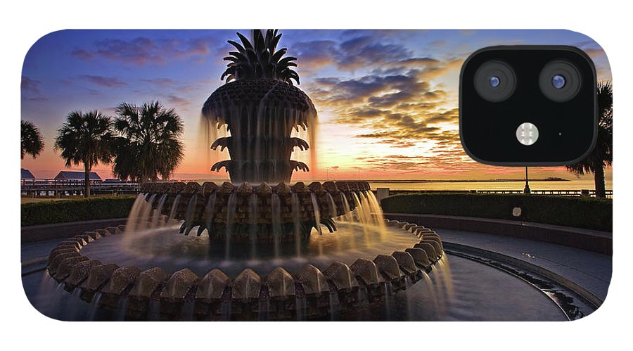 Tranquility IPhone 12 Case featuring the photograph Pineapple Fountain In Charleston by Sam Antonio Photography