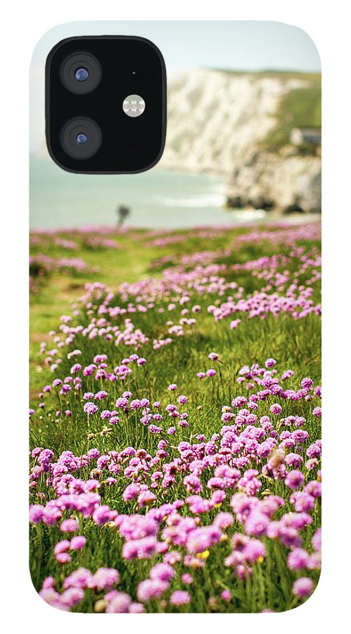Scenics IPhone 12 Case featuring the photograph Pink Coastal Path by S0ulsurfing - Jason Swain
