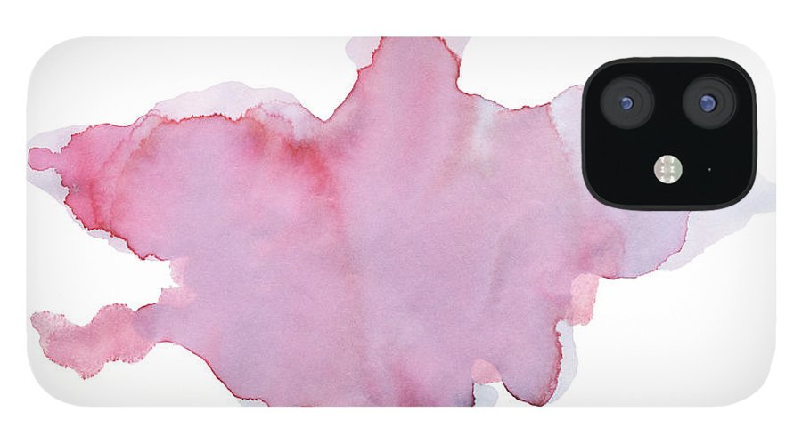 Watercolor Painting IPhone 12 Case featuring the digital art Pink Watercolor Paint Texture by 4khz