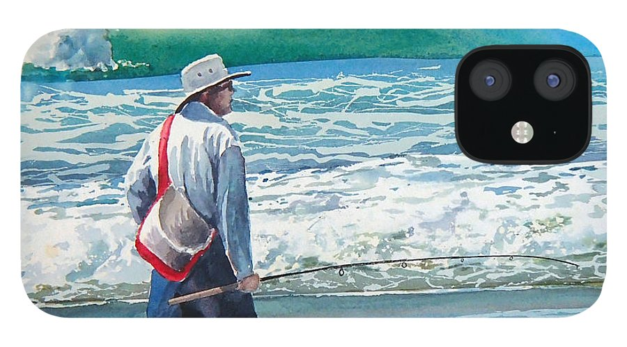 Beach.pismo Beach.ocean IPhone 12 Case featuring the painting Pismo Fisherman by Philip Fleischer
