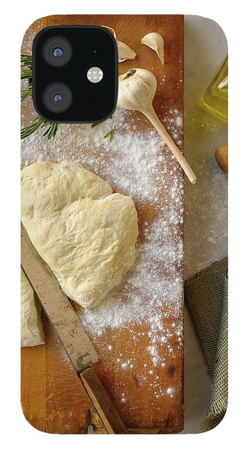 Cutting Board IPhone 12 Case featuring the photograph Pizza Dough And Ingredients On Cutting by Brian Macdonald