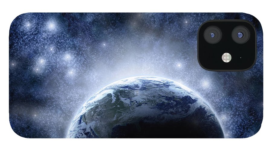 Outdoors IPhone 12 Case featuring the digital art Planet Earth And Stars by Nicholas Monu