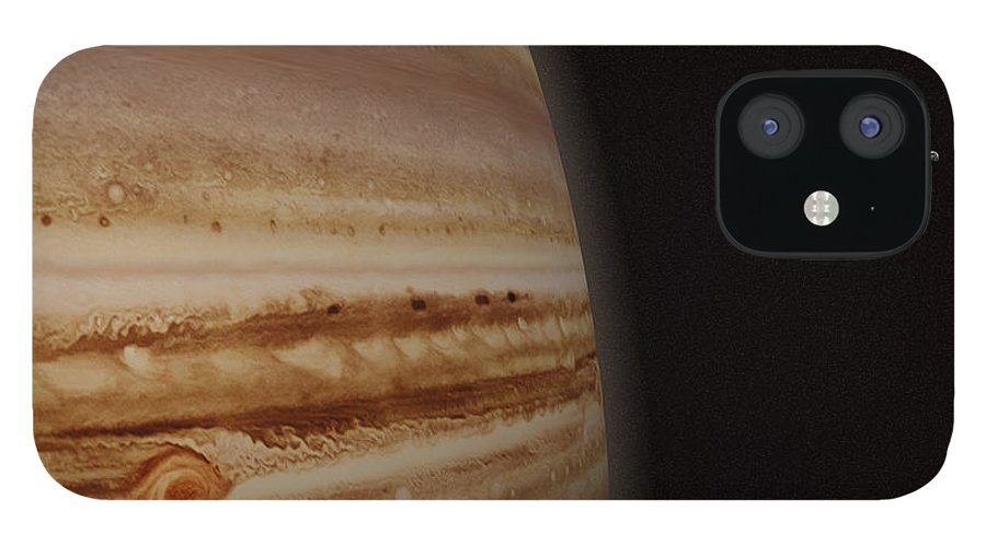 Black Color IPhone 12 Case featuring the photograph Planet Jupiter And A Distant Moon by Jason Reed