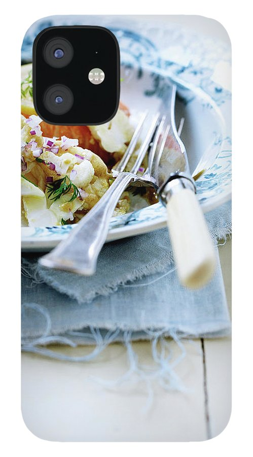 Copenhagen IPhone 12 Case featuring the photograph Plate Of Pasta With Fish by Line Klein
