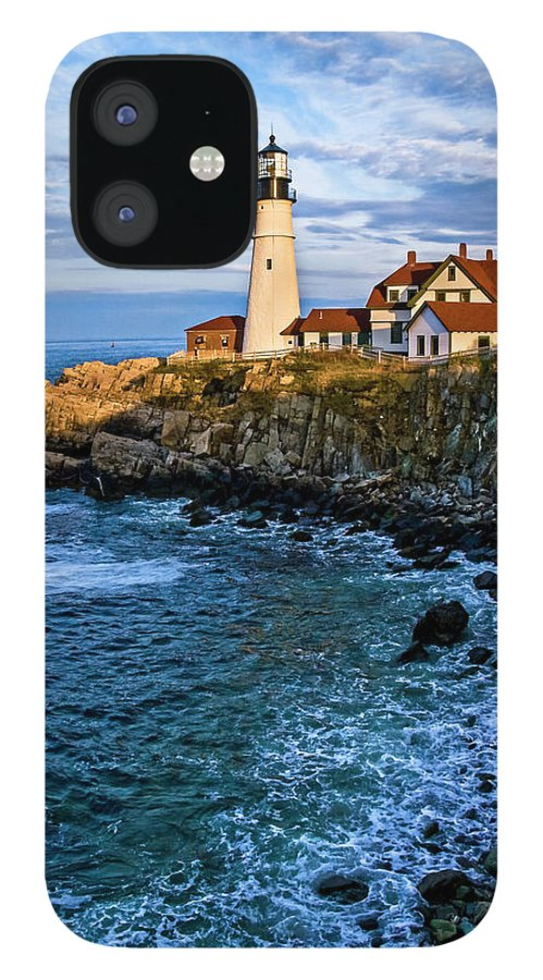 Built Structure IPhone 12 Case featuring the photograph Portland Head Light by C. Fredrickson Photography