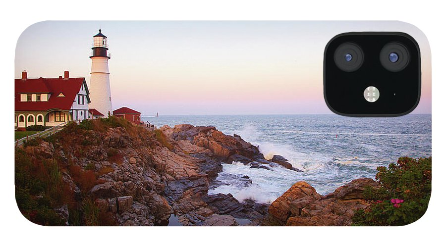 Scenics iPhone 12 Case featuring the photograph Portland Head Lighthouse At Sunset by Thomas Northcut