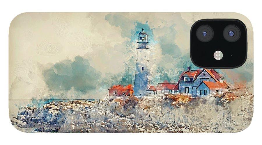 Lighthouse IPhone 12 Case featuring the digital art Portland Head Lighthouse Portland Maine by Trevor Slauenwhite