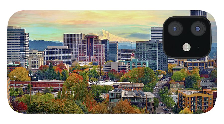 Viewpoint IPhone 12 Case featuring the photograph Portland Oregon Downtown Cityscape In by David Gn Photography