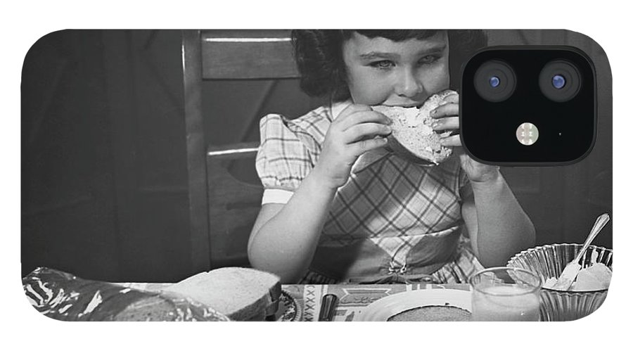 Milk IPhone 12 Case featuring the photograph Portrait Of Little Girl Eating Buttered by George Marks