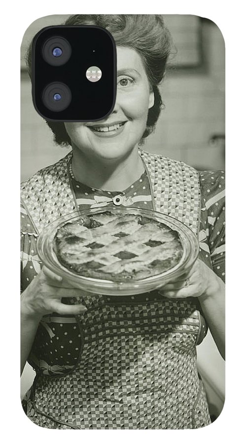 Mature Adult iPhone 12 Case featuring the photograph Portrait Of Mature Woman Holding Pie by George Marks