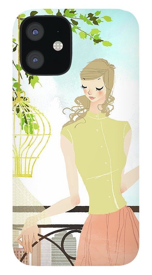 Tranquility iPhone 12 Case featuring the digital art Portrait Of Young Woman Holding by Eastnine Inc.