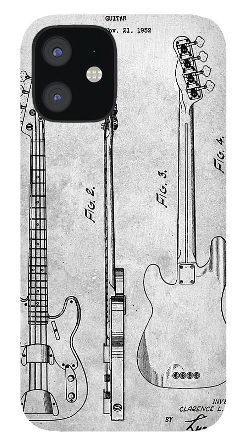 Pp8-slate Fender Precision Bass Guitar Patent Poster IPhone 12 Case