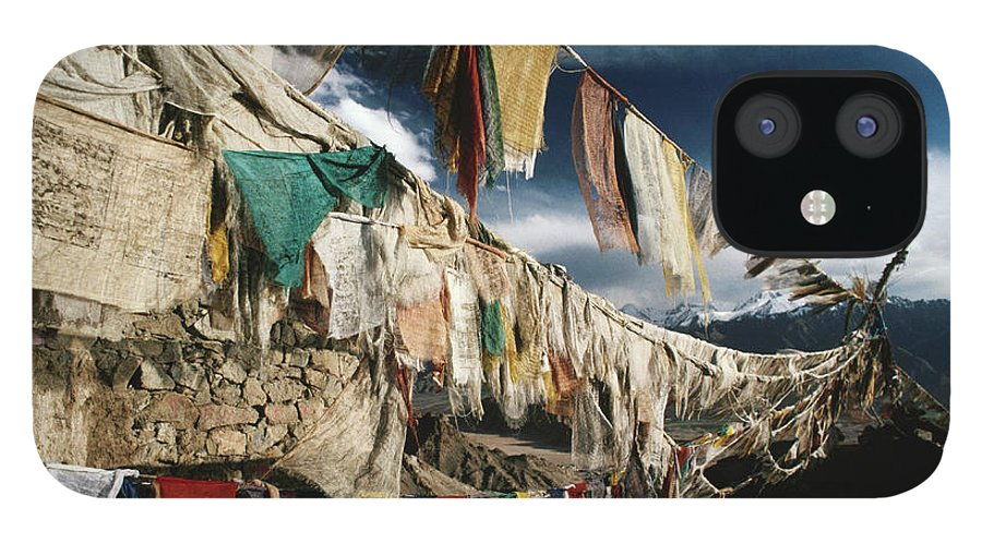 Himalayas IPhone 12 Case featuring the photograph Prayer Flags Above Leh, Ladakh, Leh by Richard I'anson