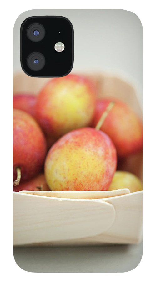 Plum IPhone 12 Case featuring the photograph Punnet Of Victoria Plums by Diana Miller
