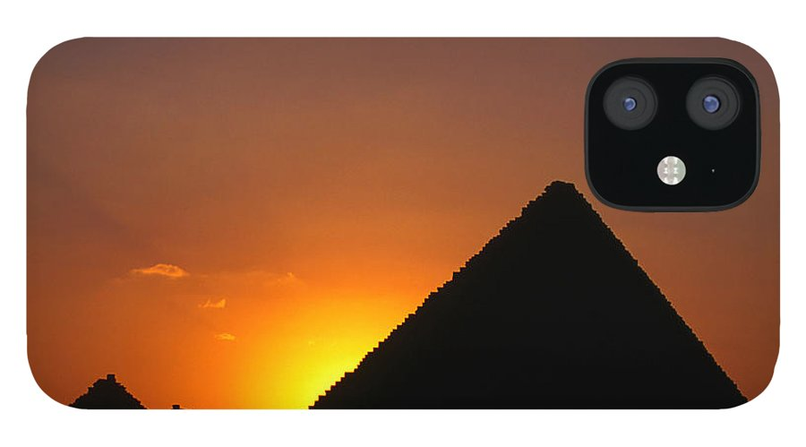 Orange Color iPhone 12 Case featuring the photograph Pyramid Of Mycerinus At Giza At Sunset by Anders Blomqvist