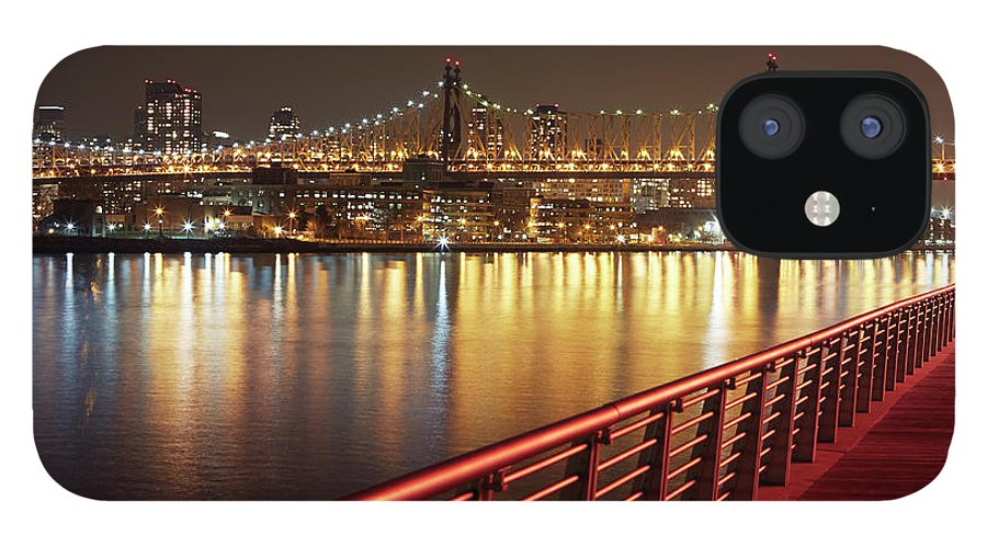 Built Structure IPhone 12 Case featuring the photograph Queensboro Bridge At Night by Allan Baxter
