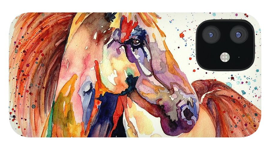 Watercolor IPhone 12 Case featuring the painting Rainy Horse by Suzann Sines