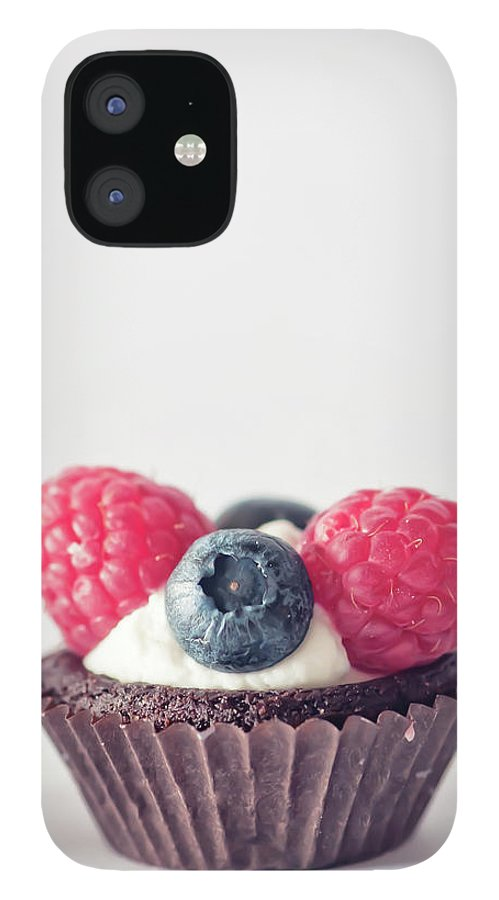 Unhealthy Eating iPhone 12 Case featuring the photograph Raspberries And Blueberries Cupcake by Marta Nardini