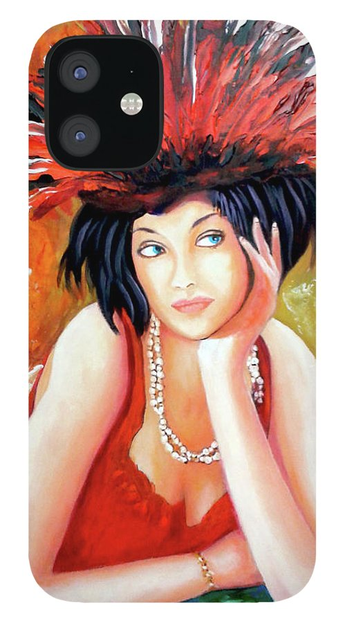 Women IPhone 12 Case featuring the painting Red Hat by Jose Manuel Abraham