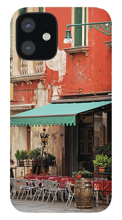 Empty IPhone 12 Case featuring the photograph Restaurant In Venice by Mammuth