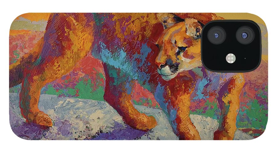 Ridge Cougar IPhone 12 Case featuring the painting Ridge Cougar by Marion Rose