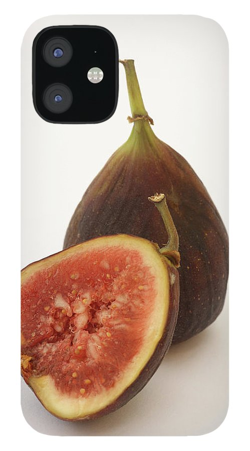 White Background IPhone 12 Case featuring the photograph Ripe, Fresh Figs On White Background by Rosemary Calvert
