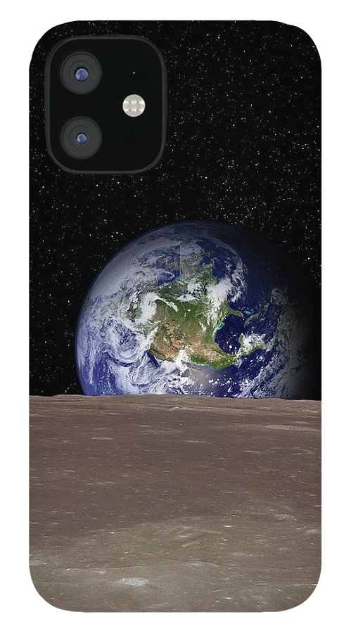 Landscape IPhone 12 Case featuring the photograph Rising Earth Over Moon Surface by Photovideostock