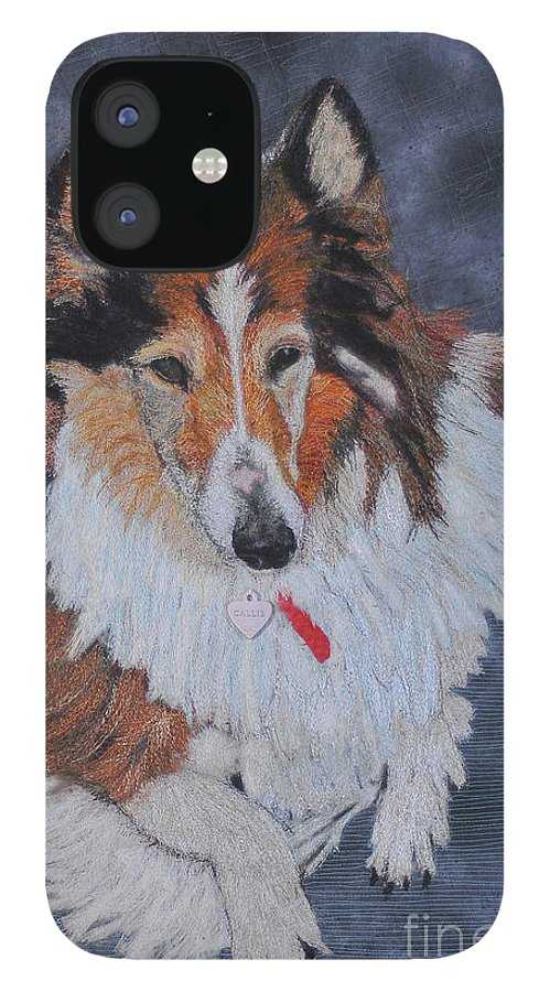 Rough Collie IPhone 12 Case featuring the tapestry - textile rough Collie by Dolores Fegan