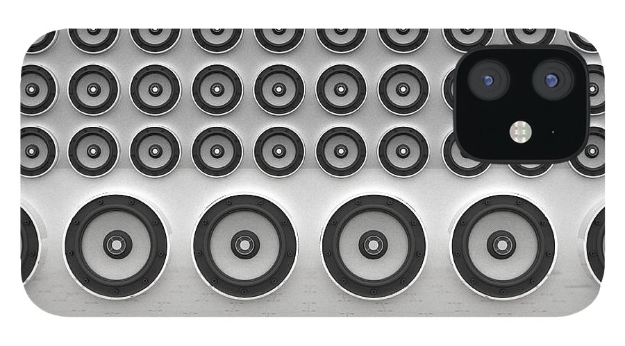 White Background IPhone 12 Case featuring the digital art Rows Of Speakers Digital by Chad Baker