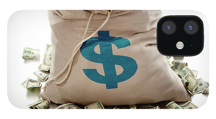 White Background IPhone 12 Case featuring the photograph Sack Of Cash by John Kuczala