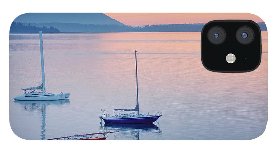Scenics iPhone 12 Case featuring the photograph Sailboats In Bellingham Bay Washington by Alan Majchrowicz