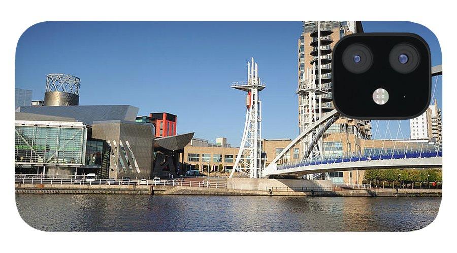 London Millennium Footbridge IPhone 12 Case featuring the photograph Salford Quays, Manchester by Chrishepburn