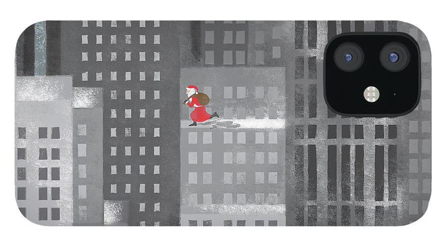 Shadow IPhone 12 Case featuring the digital art Santa Clause Running On A Skyscraper by Jutta Kuss