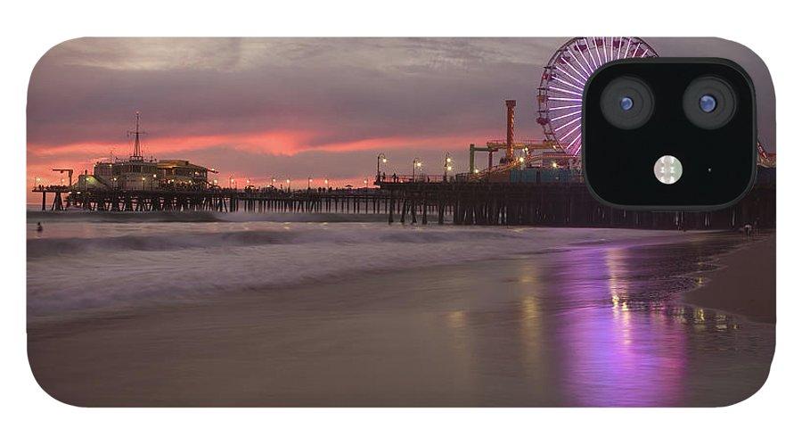California IPhone 12 Case featuring the photograph Santa Monica Pier by Skyhobo
