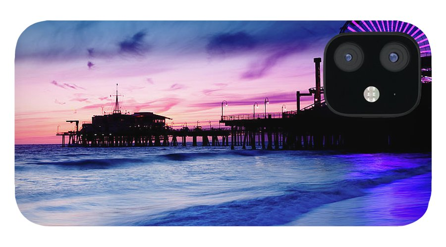 Commercial Dock IPhone 12 Case featuring the photograph Santa Monica Pier With Ferris Wheel by Pawel.gaul
