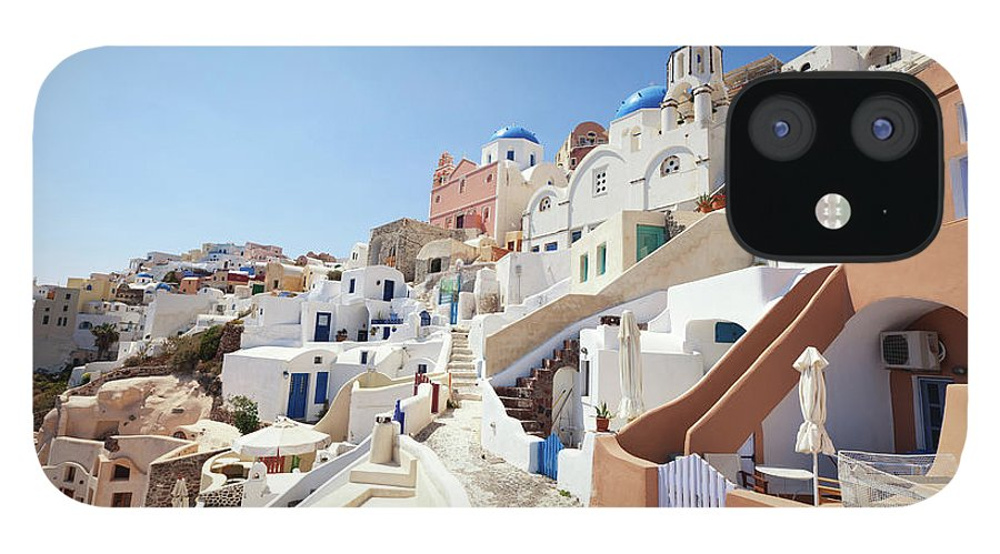 Steps IPhone 12 Case featuring the photograph Santorini, Churches And Houses by Richmatts