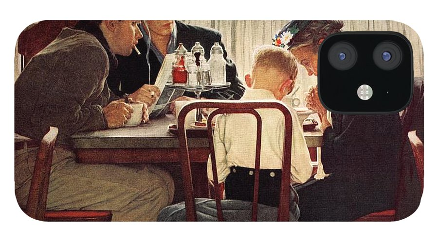 Eating IPhone 12 Case featuring the drawing Saying Grace by Norman Rockwell