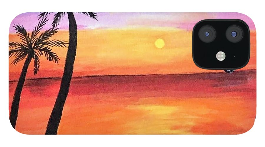 Canvas IPhone 12 Case featuring the painting Scenary by Aswini Moraikat Surendran