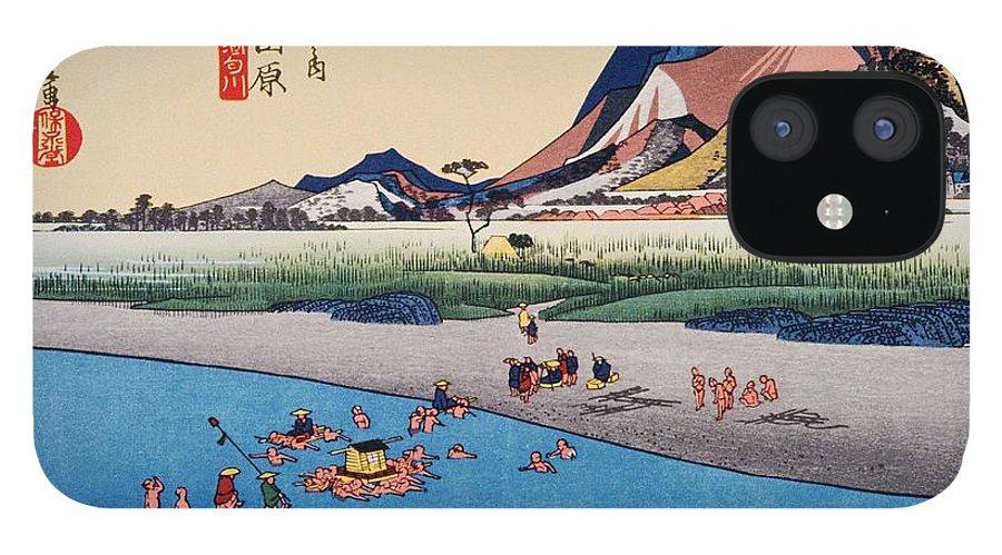Grass Family iPhone 12 Case featuring the digital art Scenery Of Odawara In Edo Period by Daj