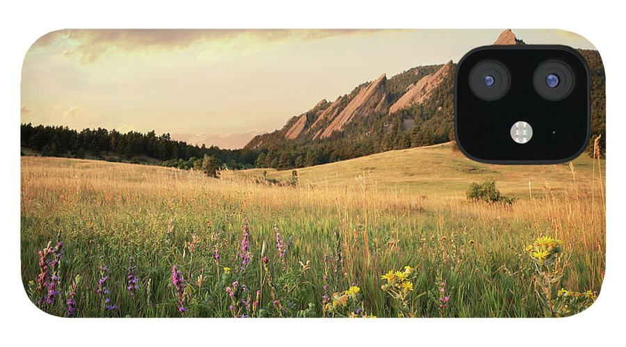 Tranquility IPhone 12 Case featuring the photograph Scenic View Of Meadow And Mountains by Seth K. Hughes
