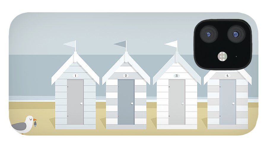 Scenics IPhone 12 Case featuring the digital art Seagull Waiting On The Beach Goers To by Myillo