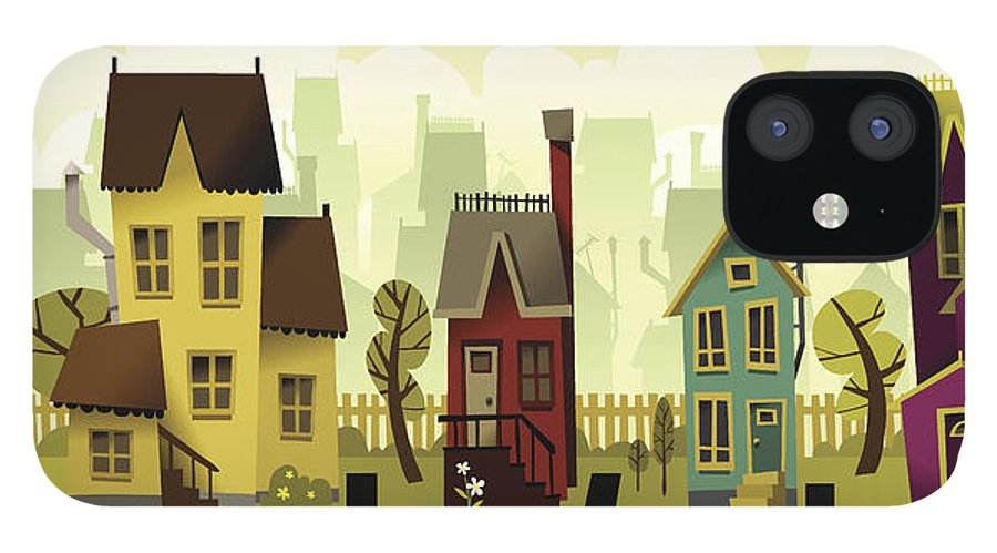 Grass IPhone 12 Case featuring the digital art Seamless Neighborhood by Doodlemachine