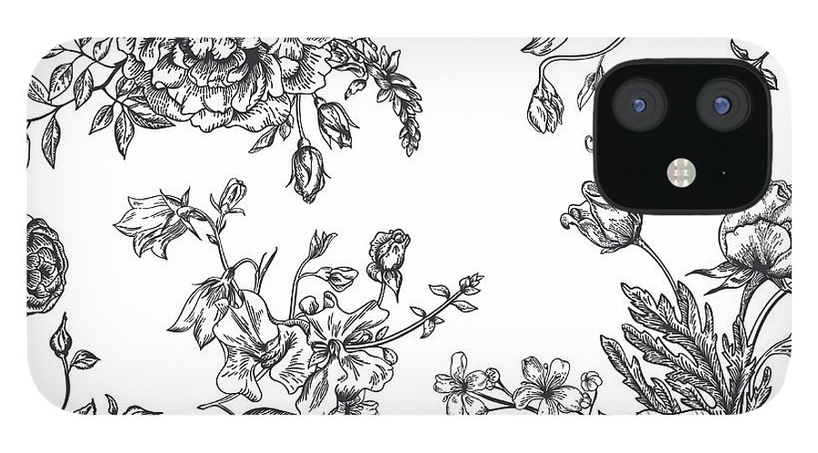 Art IPhone 12 Case featuring the digital art Seamless Pattern With Bouquet Of by Nata slavetskaya