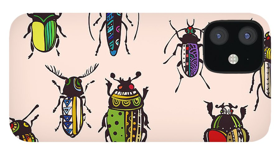 Placemats IPhone 12 Case featuring the digital art Seamless Texture With Funny Bugs by Eva mask