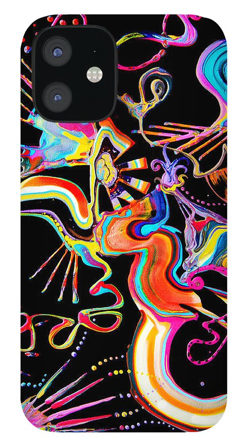 Fluid Etherial Flowing Exciting Vibrant Charming Compelling Fun Colorful Energetic Youthful IPhone 12 Case featuring the painting Secret Fairy Moon by Priscilla Batzell Expressionist Art Studio Gallery
