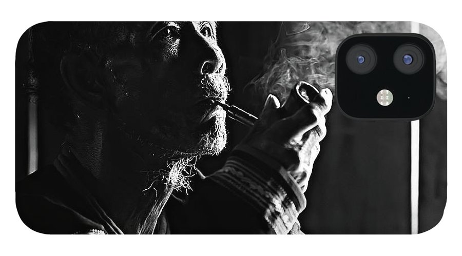 Asian And Indian Ethnicities IPhone 12 Case featuring the photograph Senior Man Smoking Pipe, Vietnam by Tran Anh Linh