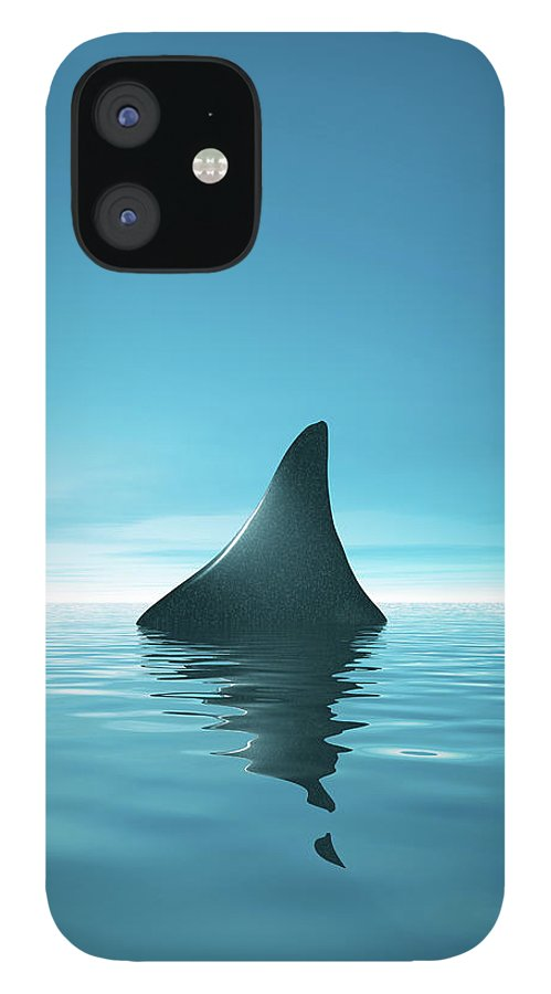 Risk iPhone 12 Case featuring the digital art Shark Waiting In Th Calm Blue Sea by Artpartner-images