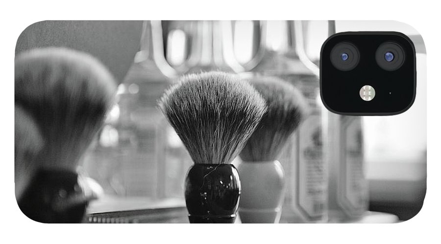 Office IPhone 12 Case featuring the photograph Shaving Brushes At Barbershop by Lorado