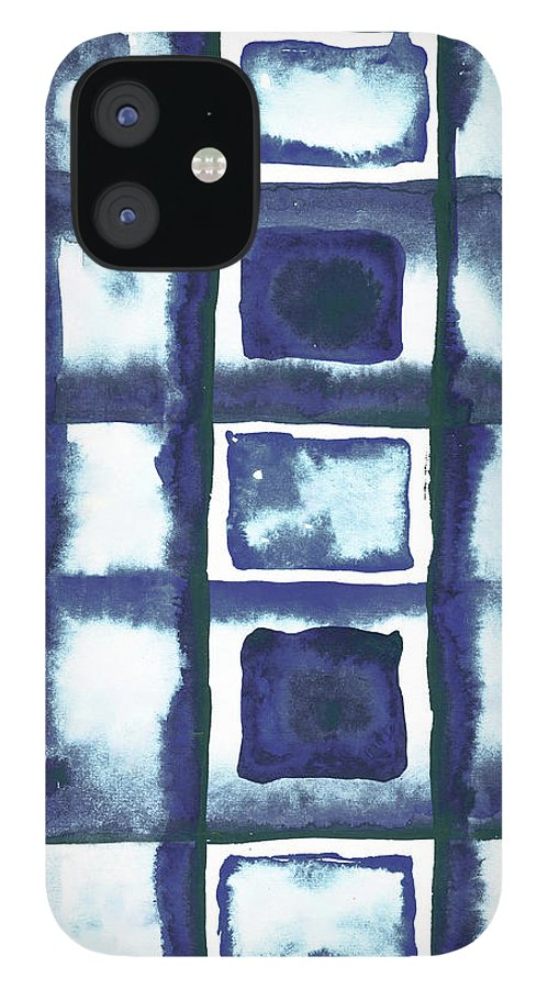 Shibori IPhone 12 Case featuring the mixed media Shibori Box Pattern II by Elizabeth Medley